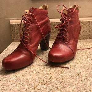 Mine West red leather lace up heeled booties